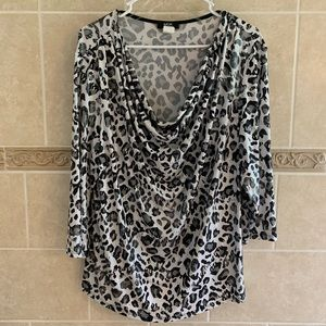 MSK Women Animal print top with sparkle
